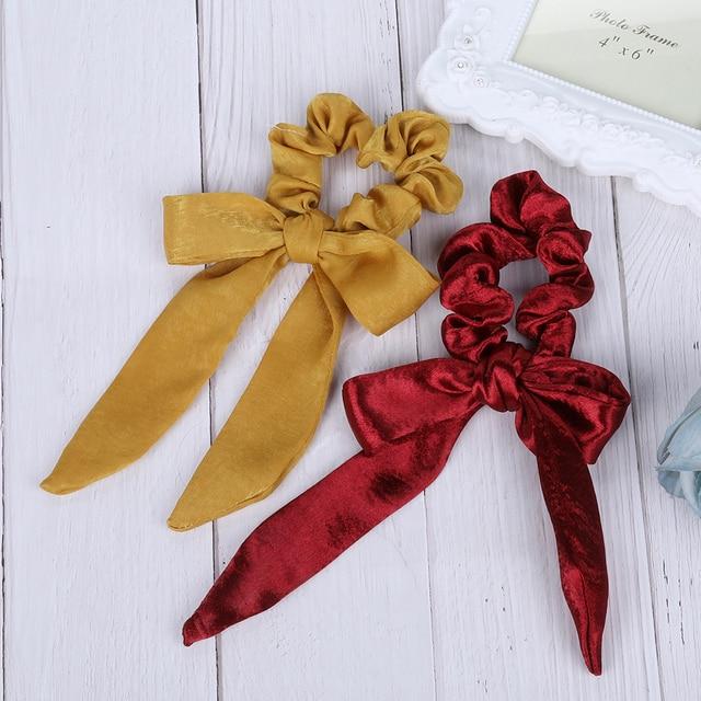 AWAYT Bow Streamers Hair Ring Fashion Ribbon Girl Hair Bands Scrunchies Horsetail Tie Solid Headwear Hair Accessories 4