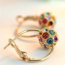 Charm Golden Colorful Shining Crystal Hoop Earrings For Women Fashion High Quality Multi-color Ball Earrings Jewelry(China)