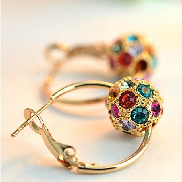 Charm Golden Colorful Shining Crystal Hoop Earrings For Women Fashion High Quality  Multi-color Ball Earrings Jewelry