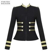 Новое поступление, трендовая полосатая куртка с золотыми пуговицами, с длинными рукавами и стоячим воротником, вечерние куртки знаменитостей, Клубная бандажная куртка, верхняя одежда