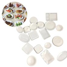 18Pcs kitchen toys Dollhouse Trays Plates Miniature Food Dishes Kitchen Tableware Decor Toy Accessories girls