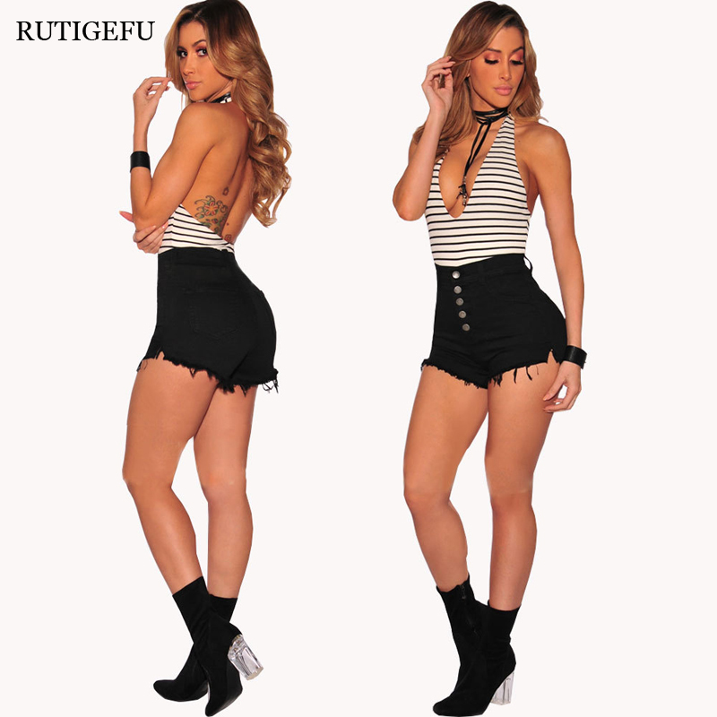 Women Shorts 2018 New Fashion High Waist Buttons Hot Shorts High Quality Casual Slim Shorts Spicy summer shorts Free Shipping