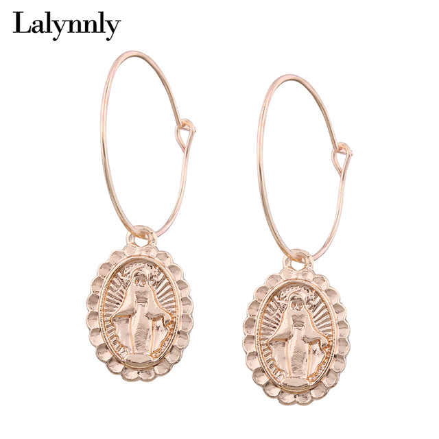Lalynnly 2018 New Gold Cross Earrings Small Drop Dangle For Women Fashion