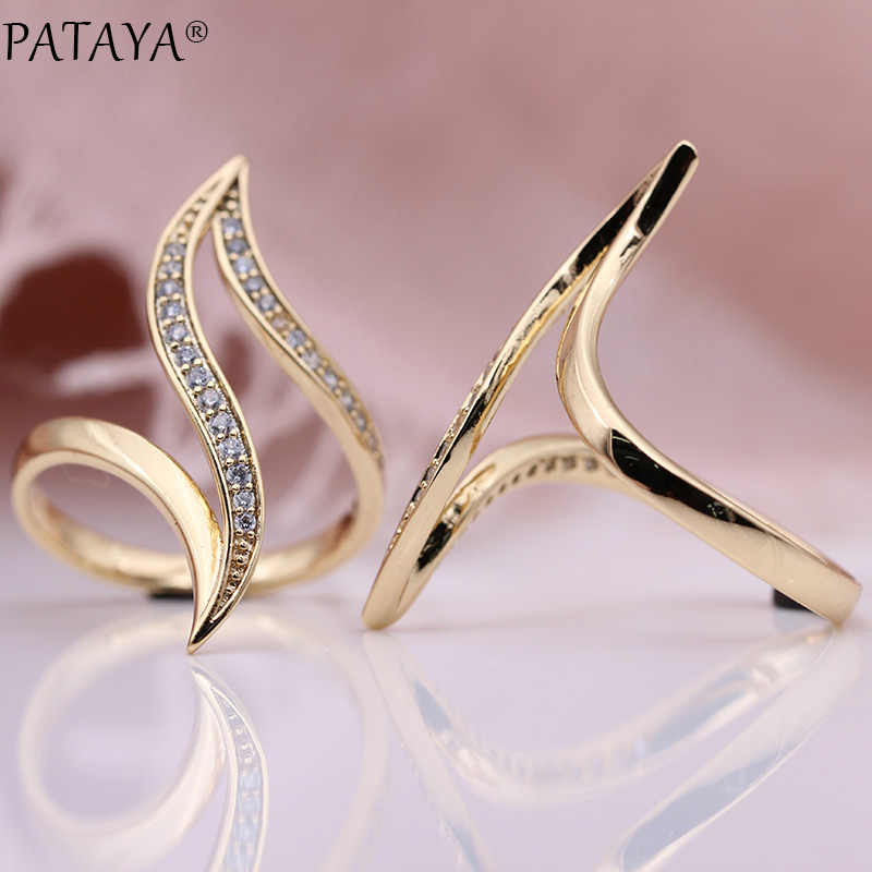 PATAYA New Fine Hyperbole Curve Women Rings White Round Micro Wax Inlay Natural Zircon 585 Rose Gold Fashion Jewelry Unique Ring