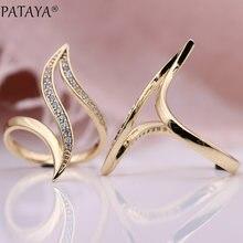 PATAYA Nieuwe Fijne Hyperbole Curve Vrouwen Ringen Wit Ronde Micro Wax Inlay Natuurlijke Zirkoon 585 Rose Goud Mode-sieraden Unieke ring