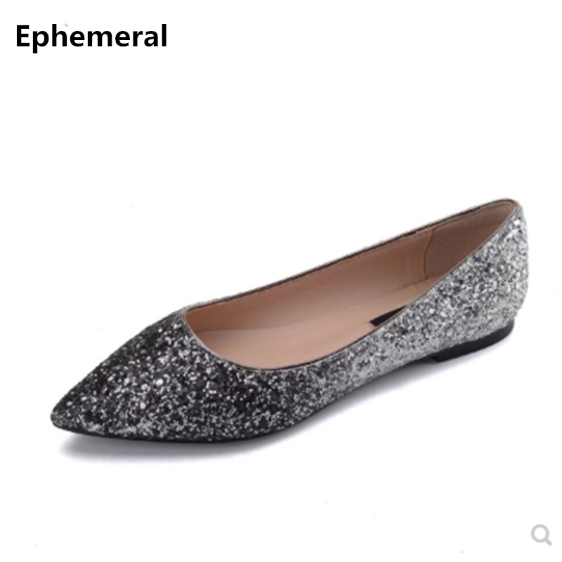 Ladies bling Flats Pointed toe Slip-ons For Party Wedding Luxury Shoes Nigh Club Plus Size 44 34 40 Black Grey Ephemeral Fashion ...