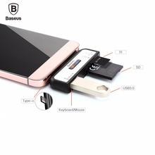 Baseus USB Тип C SD TF Card Reader Для Macbook Xiaomi mi5 Nexus 6 P Meizu pro 5 OTG Адаптер Типа С USB-C К USB 3.0 OTG Адаптер
