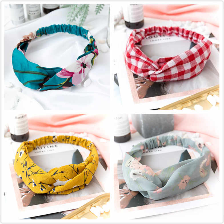 Summer Chiffon Headband Women Hair Accessories Turban Twist Cross Hairband Headwrap Girls Flower Striped Knot Hair Band