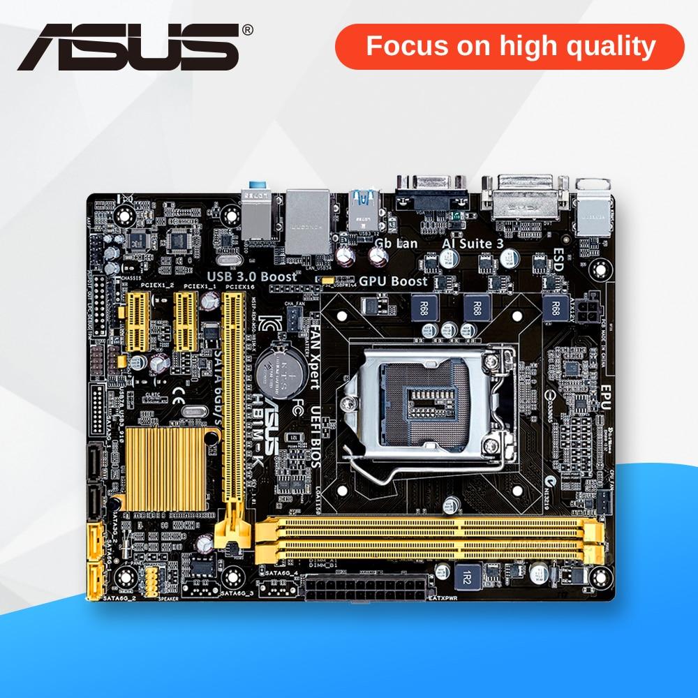 Asus H81M-K Desktop Motherboard H81 Socket LGA 1150 i7 i5 i3 DDR3 16G SATA3 UBS3.0 Micro-ATX used for asus b85m d plus desktop motherboard b85 socket lga 1150 i7 i5 i3 ddr3 16g sata3 micro atx