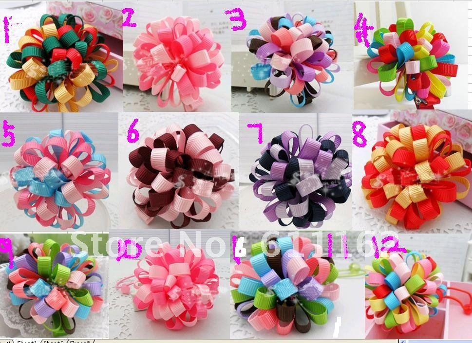 Высококачественная детская заколка для волос в форме цветка loopy лук 12 разных цветов Смешанные петли мяч для девочек детские волосы 500 шт. наивысшего качества