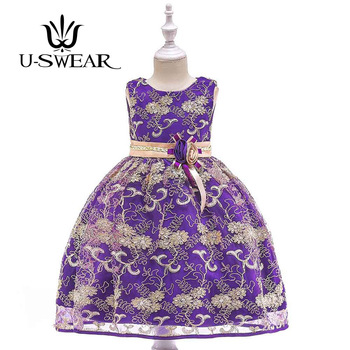 U-SWEAR 2019 New Arrival Kid Flower Girl Dresses Sleeveless Sashes Flower Appliqued Embroidery Chiffon Dress Vestidos