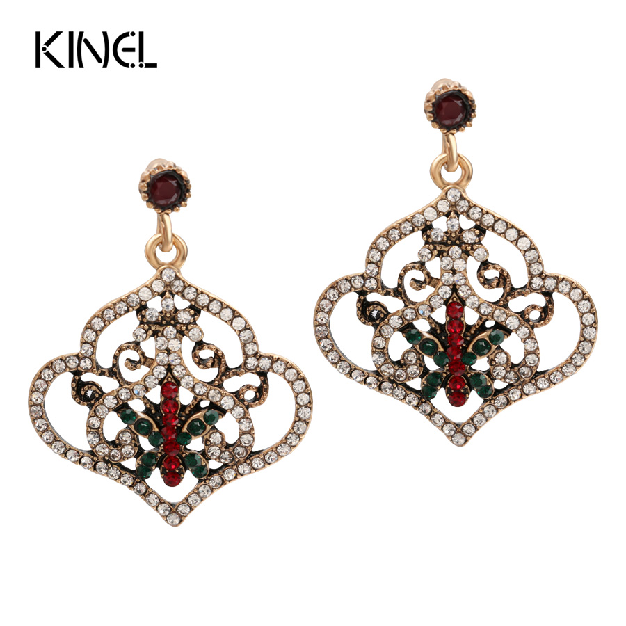 Luxury Turkey Style Big Pendant Earrings For Women Color Ancient Gold Crystal Earrings Vintage Jewelry Kinel WLX-1