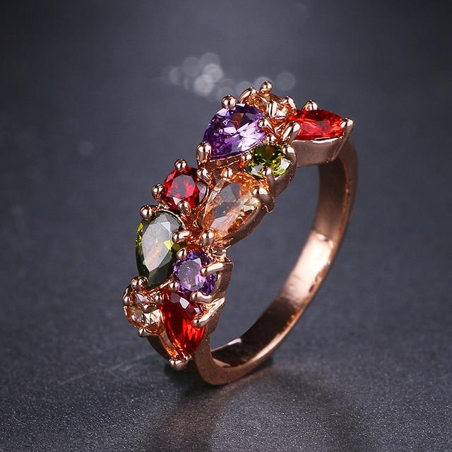 Monalisa Emmaya Mais Novo Na Moda Cor de Rosa de Ouro Colorido AAA Zircon Anéis de Casamento Jóias Para As Mulheres Do Partido Presente