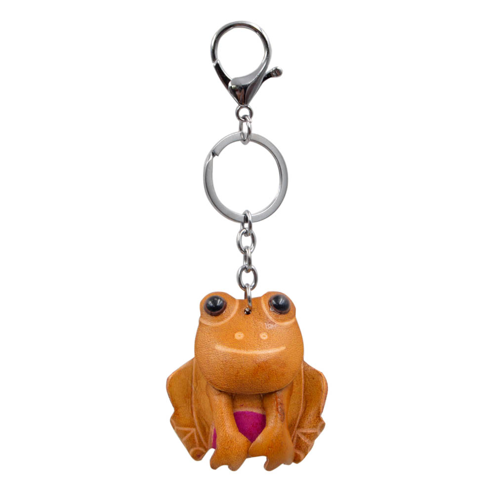 Youngtulip Cowhide Frog Key Chains Unisex Handmade Animal KeyChain Cow Leather Car Handbag Hanging Vintage Accessories God Gift