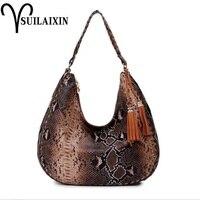 designer snake handbag women serpentine leather bag female hobos Snakeskin shoulder bags with tassel large casual tote bag