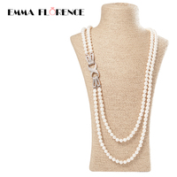 2017 Office Style Women Jewelry Strand Round Pearl Necklaces Eight Number Pendants Freshwater Shell Beads Necklace
