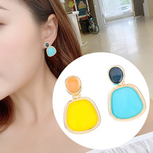 S925 Silver Needle Korean Fashion Asymmetric Candy Coloured Earrings Panya Wind Ins