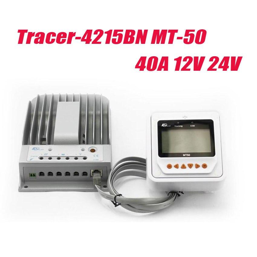 1 шт. EPSolar MPPT Контроллер заряда 40A 12 В 24 В tracer4215bn программируемый MPPT контроллер withmt50 ЖК дисплей удаленного дисплей