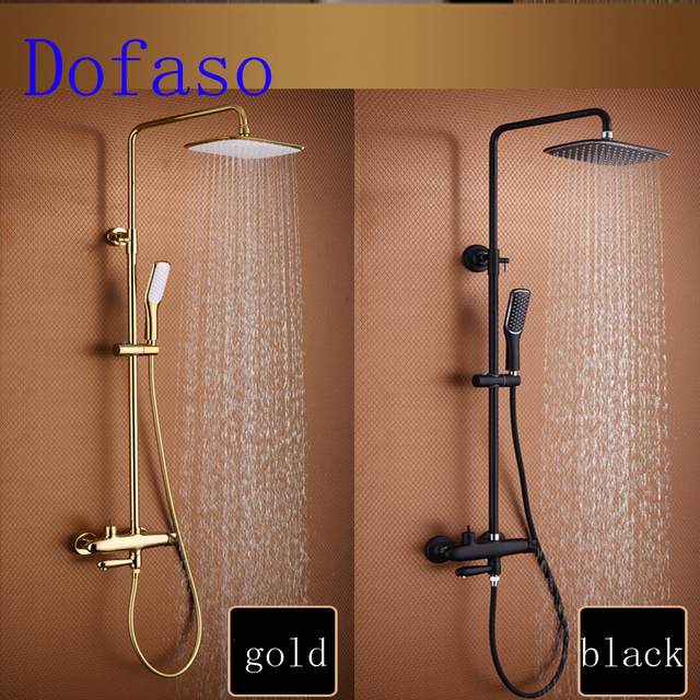 Dofaso Luxury Bathroom Big Rain Shower Mixer Taps Gold Shower Set And Black  Shower Faucet All