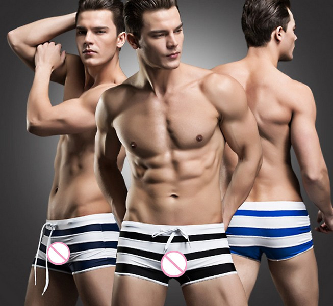 Sexy Lingerie Boxer Shorts panties underwear striped swimming shorts slip homme sports wear calzoncillos hombre boxer marcamens