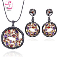 ZHE FAN Vintage Jewelry Sets For Black Gold Color 2 Tone Plated AAA Cubic Zirconia Pendant Necklace Long Dangling Earrings Sets