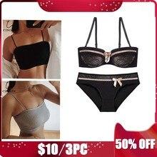 de078f5df Cinoon 3 peças mulheres sexy bra set + 2 tubo de algodão tops empurrar para  cima roupa interior copo fino lingerie moda intimate.