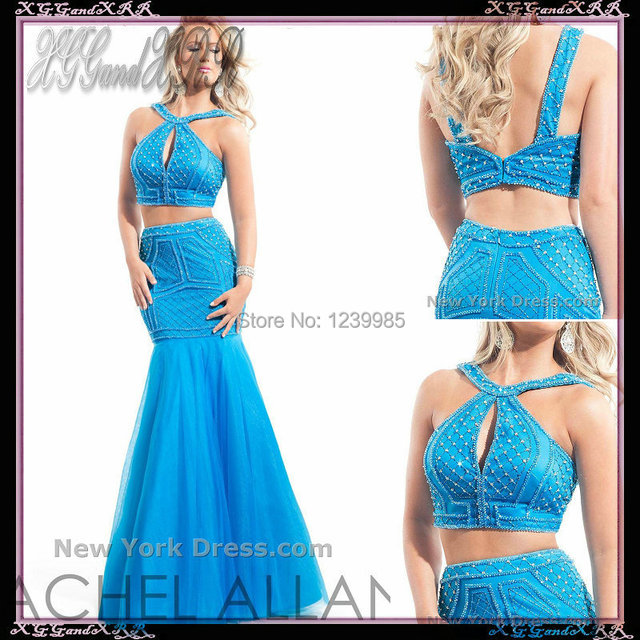 5aebba2c7369 Sexy Halter Blue Two Piece Prom Dresses 2017 Fashionable Sequined  Sleeveless Long Elegant Prom Dresses Mermaid Party Dress
