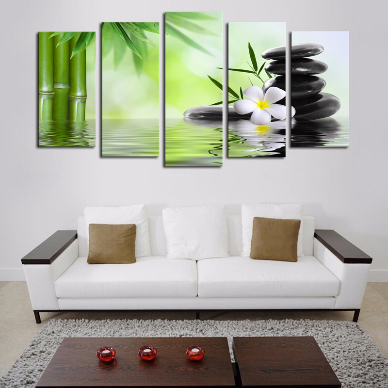 (No Frame) 5 Piece Bamboo Stone Scenery Modern Home Wall Decor Canvas  Picture Art HD Print Painting On Canvas For Home Decor In Painting U0026  Calligraphy From ...