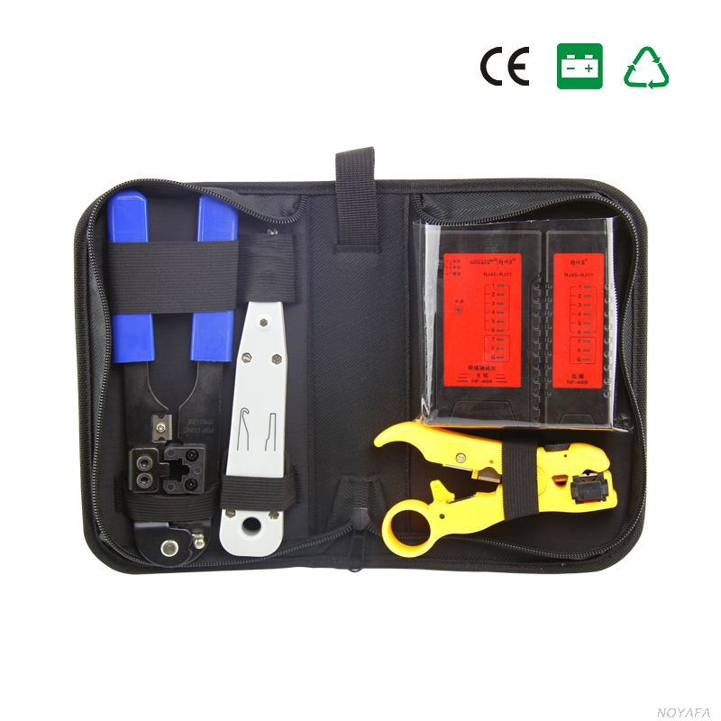 Free shipping, NOYAFA NF-1201 Network tool kit Wire stripper & network cable tester & RJ45 Crimping tool & punch Down Tool 5pcsfree shipping pg 5 cable knife wire stripper for longitudinal circular stripping comm pvc lv mv cablesmax 25mm good quality