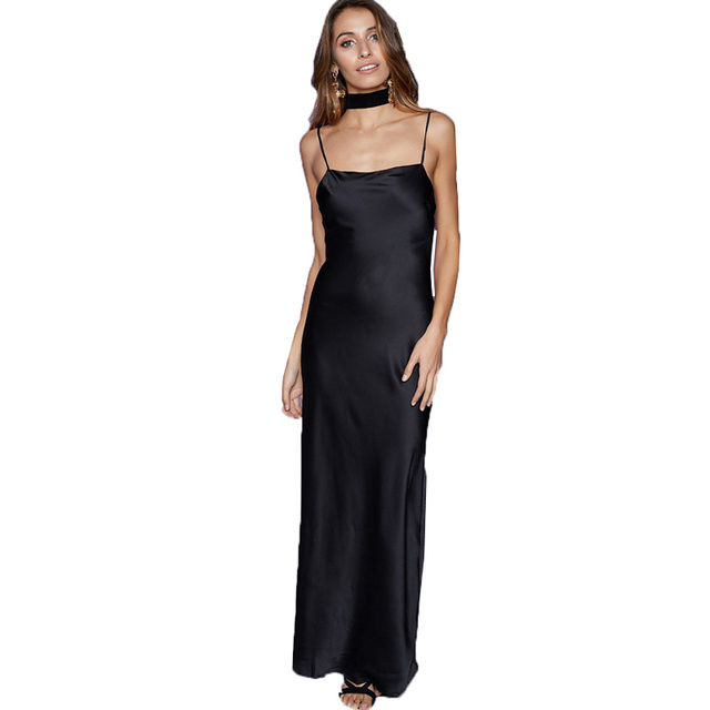 57b76ab6831 SMOVES Women Sexy Backless Scoop Neck Spagehetti Maxi Long Silk Satin Slip  Dress GD355