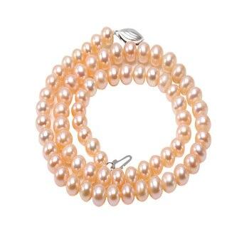 JYX Choker Halskette 6-6,5mm Kleine Perle Halskette Rosa Flach Runde Züchteten Süßwasser Perle Halskette