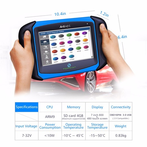 Topdon ArtiHD I Automotive Diagnostic Scan Tool for Heavy Duty and Commercial Vehicles with ECU Reprogram/Calibration Karachi