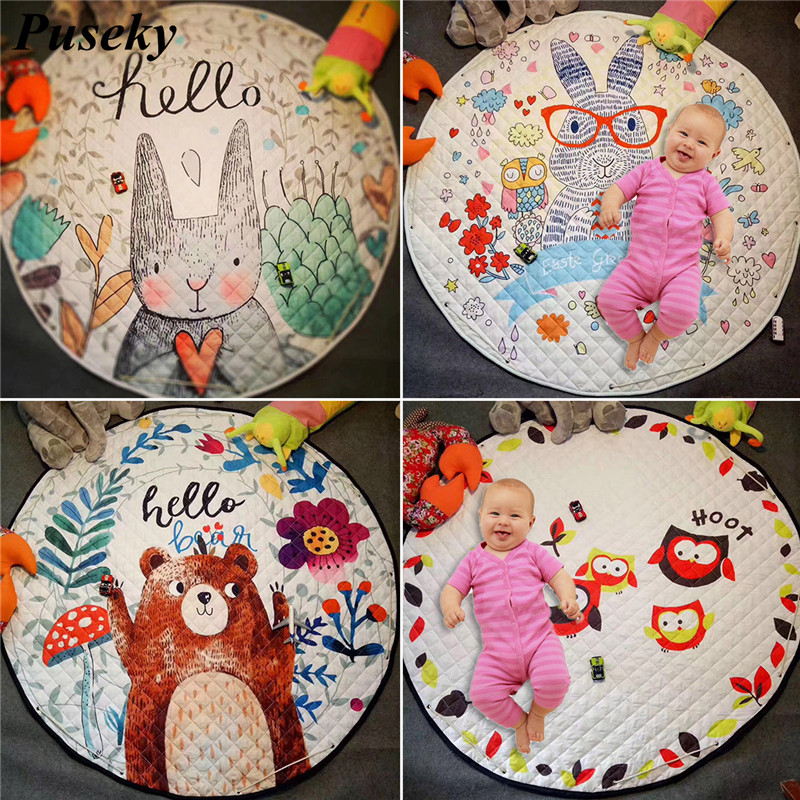 Puseky 1.45M Large Round Baby Crawling Pad Floor Rug Playing Carpet Toys Storage Bag Cartoon Fun Kids Soft Play Mat Gym Playmat цена 2017