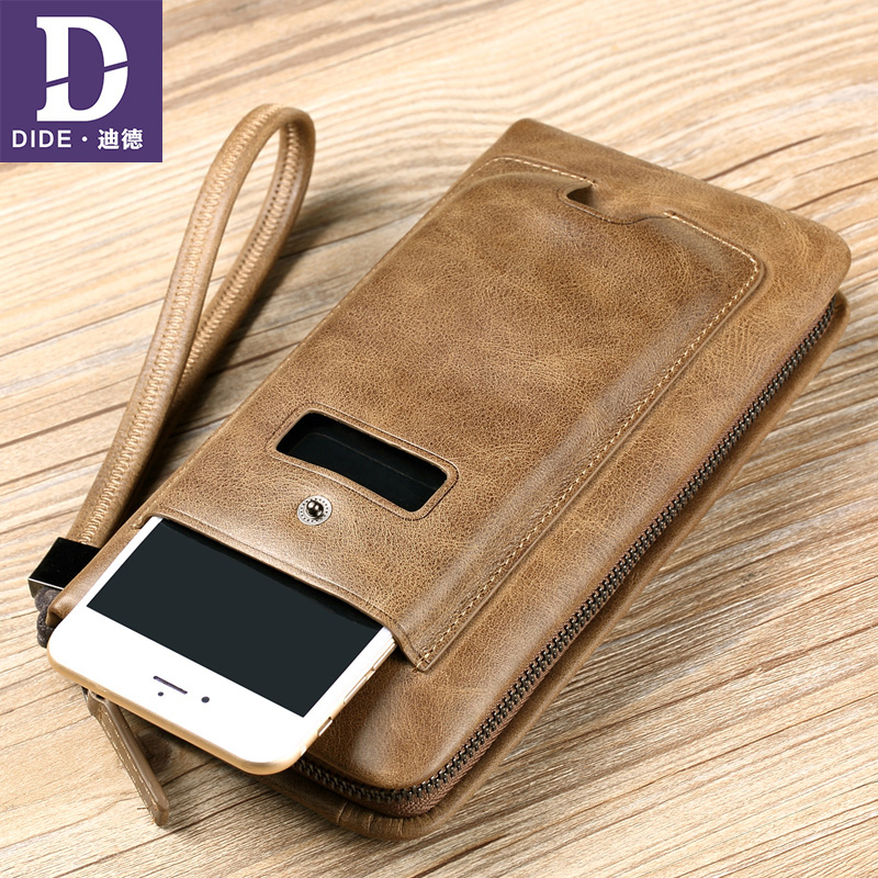 DIDE Luxury Brand 100% Top Genuine Cowhide Leather Men Long Wallet Coin Purse Vintage Designer Male Multifunctional Walets 632 new top cowhide genuine leather men wallet weave long designer male clutch luxury brand zipper coin purse phone bags for gifts