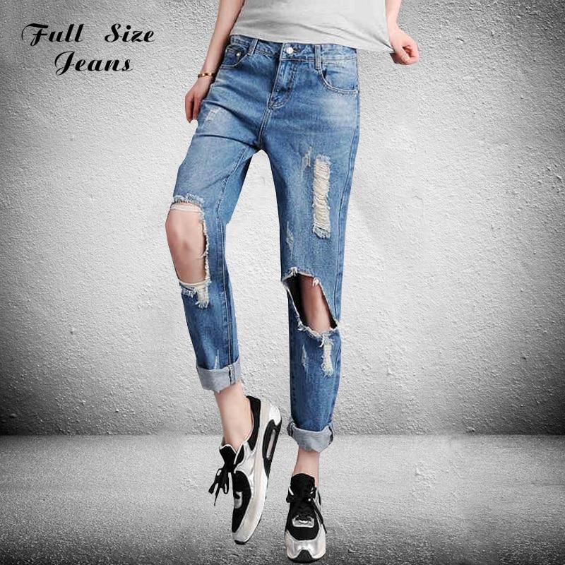 ФОТО Summer Boyfriend Knees Holes Ripped Jeans Femme Plus Size Loose Harem Pants Big Hole Oversized Blue Baggy Denim Jean 54 4Xl 6Xl
