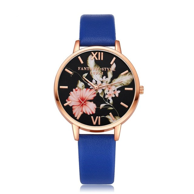 Brand Women Bracelet Watch Fashion Rose Gold Flowers Leather Simple Women Dress