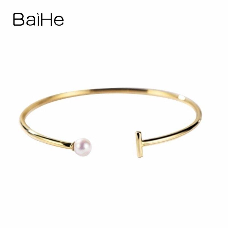 BAIHE solide 14 K or jaune 5-5.5mm certifié rond impeccable 100% véritable perle d'eau douce naturelle de mariage femmes Bracelet à la mode