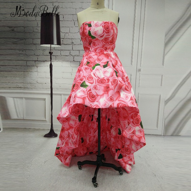 3f73d49821 US $166.0 |modabelle 2018 High Low Floral Prom Dress Flowers Printed  Vestidos De Graduacion Short Front Long Back Dress Party Evening Gowns-in  Prom ...
