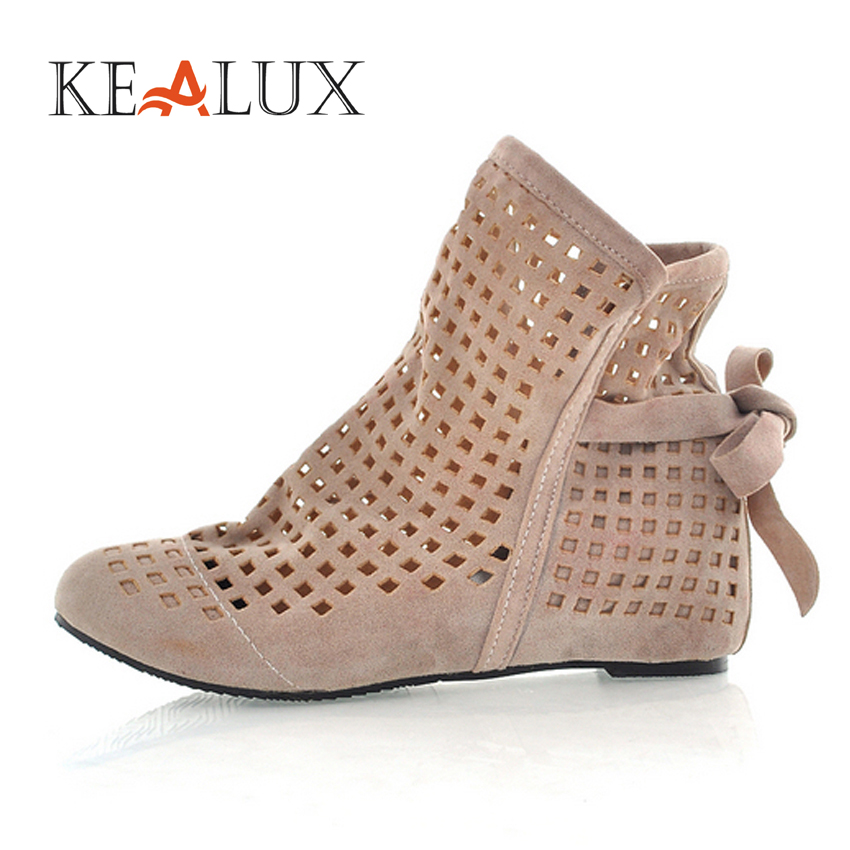 KEALUX Ankle Boots for Women Summer Spring Height Increasing Flock Round Toe Basic Women Boots Ladies Dress Casual Shoes