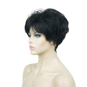 Image 5 - Strong beauty perruque Hai synthétique courte et lisse pour femmes, sans fil, perruque Blonde/noire, 11 couleurs