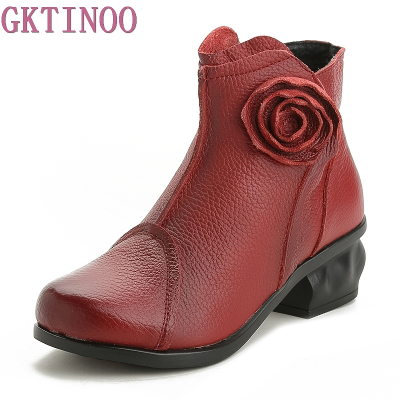 2018 Autumn Flower Genuine Leather Boots Women Handmade Vintage Thick Heel Women Shoes Winter National Ankle Boots Size 40 handmade genuine leather boots vintage national trend women boots twiddlefish platform flat heels boots women shoes