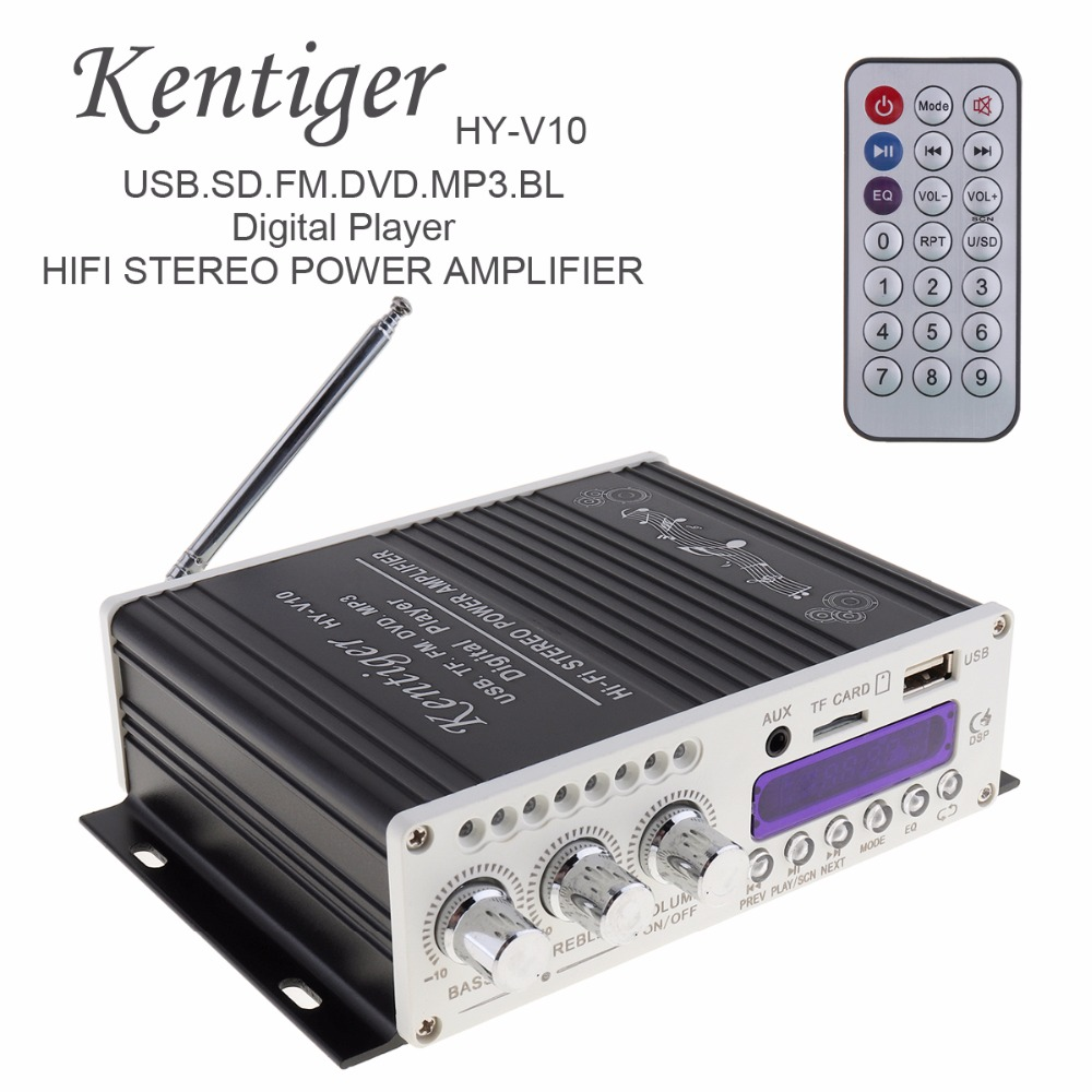 Kentiger <font><b>HY</b></font>-<font><b>V10</b></font> 20W x 2 2CH HI-FI Bluetooth Car Audio Power Amplifier FM Radio Player Support SD / USB / DVD / MP3 Input image