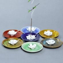 Handmade Lotus Flower Ceramic Incense Inserted Burner Base for Living Home Wedding Decoration