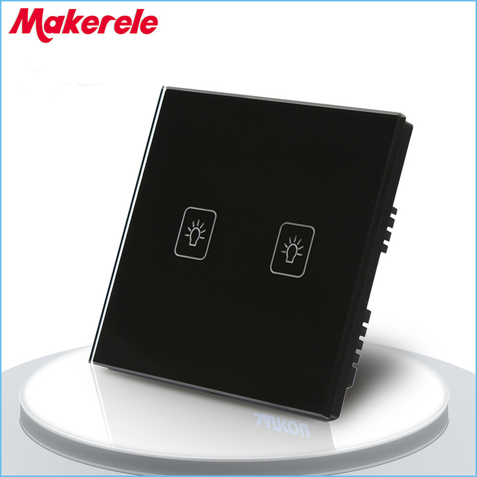 Touch Switch 2 Gang 1 Way Black Crystal Glass panel UK Standard wall socket for lamp 3 gang 1 way touch screen wall switch for lamp touch switch white uk standard