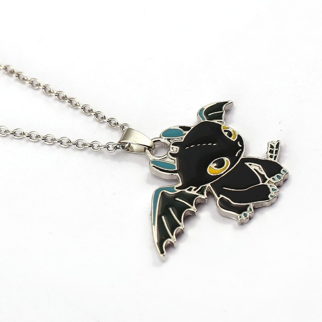 How To Train Your Dragon 2 Toothless Night Fury Necklace can dropshipping Metal Charm Pendant Cosplay Accessories Jewelry Gift