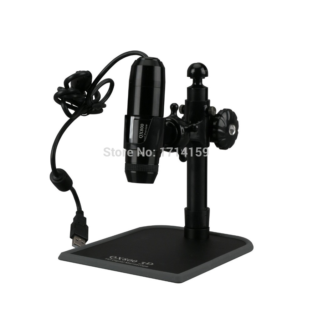 AmScope 800X HD 720P 3D Digital Zoom 8 LED Microscope