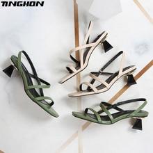 TINGHON NEW Geometric Heel Cross-tie Slipper Sandals Slip on Narrow Band High Women Open Toe Summer