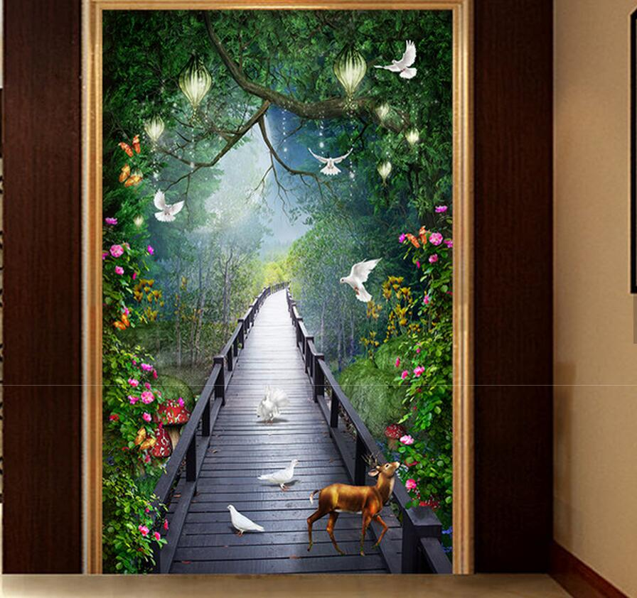 Hallway Mural Wallpapers ELK Flower Pigeon Wood Bridge Landscape Murals Living Room Wall Decorative 3D Photo Wall Paper Custom new bar european wallpapers wall paper entertainment place lobby walking house bedroom living room decorative flash wall cloth