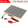 ELEGEEK 5 W 18 V Célula Solar con Salida de CC + Pinza de Cocodrilo 210*200mm de Cristal de Silicio Policristalino Laminados de fibra de Panel Solar