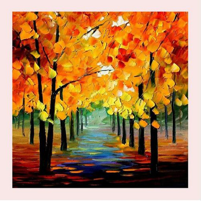 natural scenery oil painting tree landscape acrylic paintings